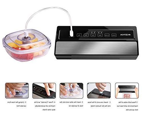 GERYON Vacuum Sealer Automatic Sealer Food Indicator Lights|Easy Clean|Dry & Food Compact Design