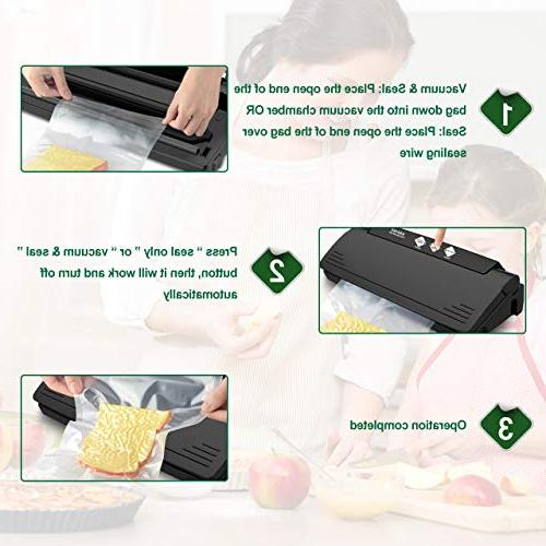 Vacuum Sealer Machine Automatic Sealing 10 Sealing Bags, Multi-use Vacuum Sealing Dry and Mode for Food Sous Vide