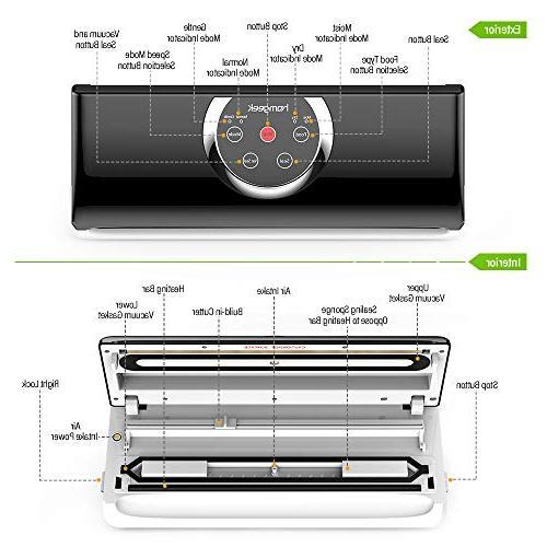 Homgeek Food Sealer 4 in 1 Automatic Vacuum Sealing System Kit Food Modes | & Gentle