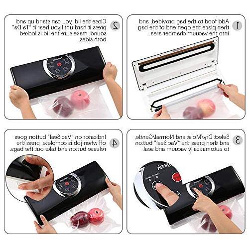 Homgeek Food Vacuum Sealer with 4 in 1 Vacuum Kit | Cutter | & Moist Food Modes | & Gentle