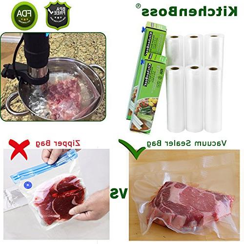 """KitchenBoss Sealer 6 Pack and 11""""x16.5' Commercial for Saver and Sous Vide"""