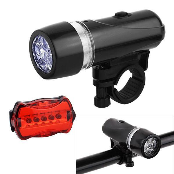Waterproof 5 LED Bike Bicycle Light+Rear Set