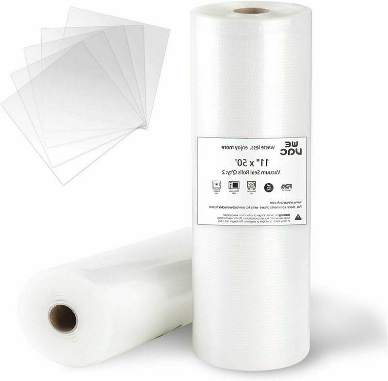 Wevac Vacuum Sealer Bags 11X50 Rolls 2 Pack For Food Saver,