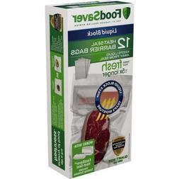 FoodSaver Liquid Block 1-Qt Heat-Seal Barrier Clear Bags, 12