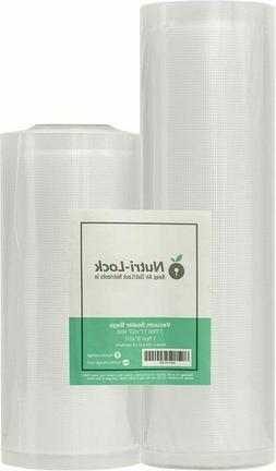 """Nutri-Lock Vacuum Sealer Bags. 2 11""""x50' and 8""""x50' Rolls ,"""