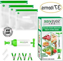 Sous Vide Bags 30 Reusable Vacuum Food Storage Bags Sous Vid