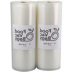 FoodVacBags Two 11X50 Rolls of Vacuum Sealer Bags 4 mil Embo