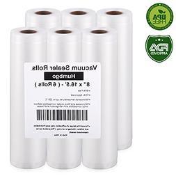 "Vacuum Sealer Rolls 6 Pack 8""x16.5', Embossed Commercial Gra"