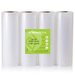 "8"" x 25' Vacuum Sealer Bags Rolls 4 Roll Pack for Food Saver"